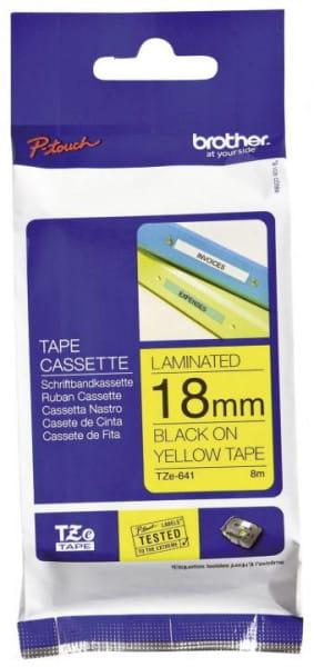 Brother TZe-Schriftbandkassetten laminiert 18 mm x 8 m schwarz auf gelb