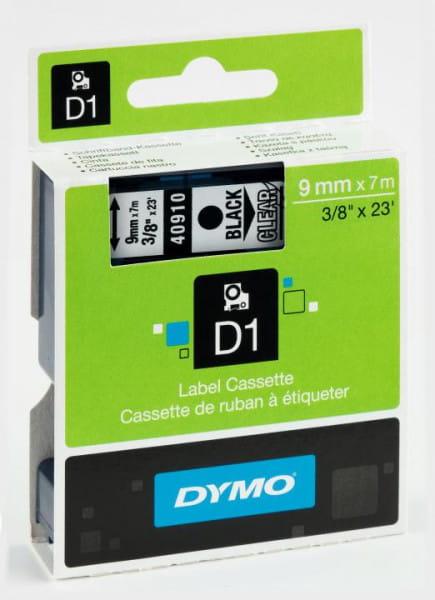 Dymo Schriftband D1 Kunststoff laminiert 7 m x 9 mm schwarz/Transparent