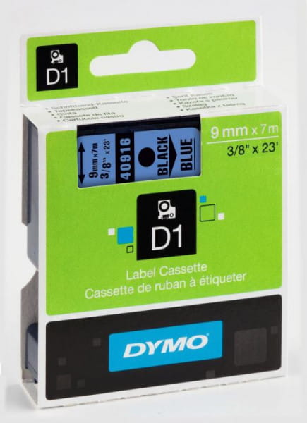 DYMO S0720710 D1 Schriftband 9mm x 7m schwarz/blau